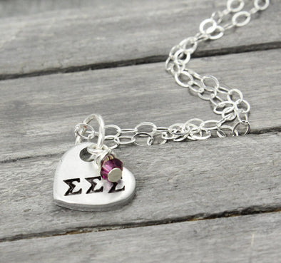 Sigma Sigma Sigma Heart Necklace - Pure Impressions Design - 1