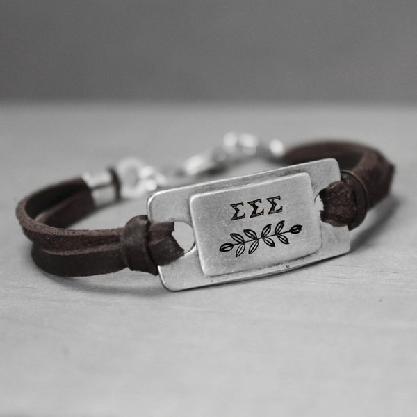 Sigma Sigma Sigma Leather Bracelet - Pure Impressions Design - 1