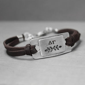 Delta Gamma Leather Bracelet - Pure Impressions Design - 1