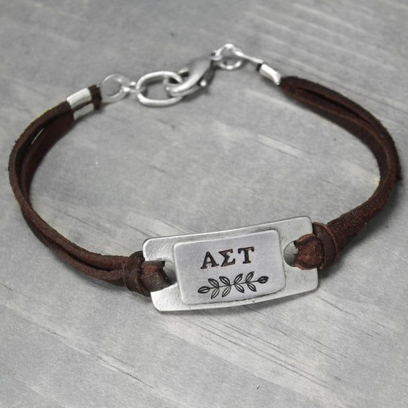 Alpha Sigma Tau Leather Bracelet - Pure Impressions Design - 2