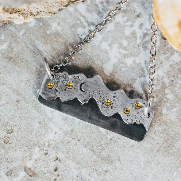 Mountain Range Necklace With Stars