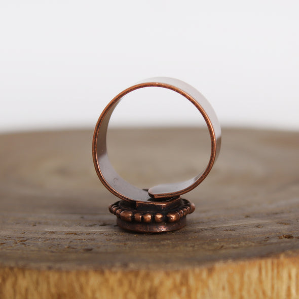 ornate copper ring turquoise ring adjustable