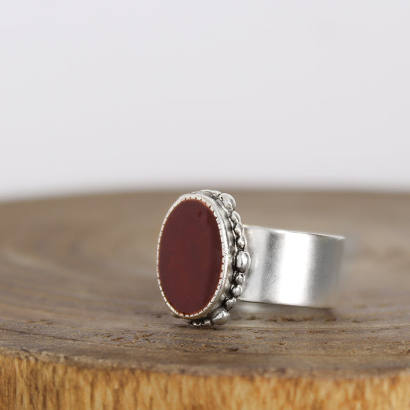 Ornate Red Hematite Ring