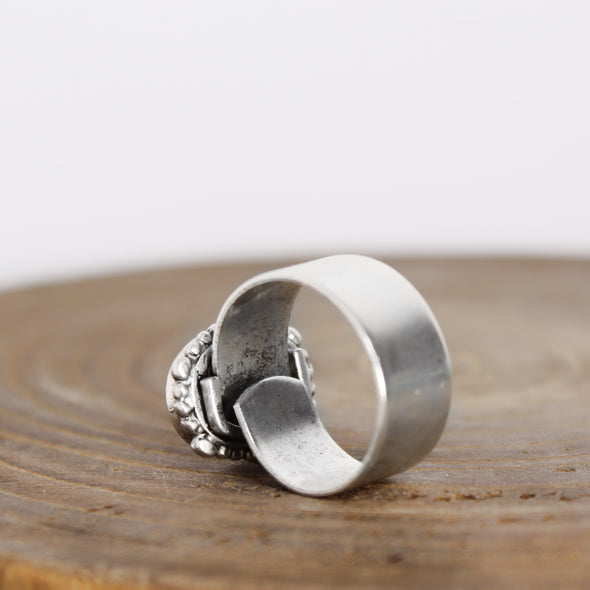 Ornate Selenite Adjustable Ring