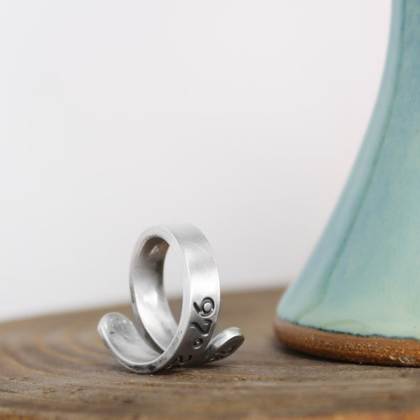 Hand Stamped Coordinate Ring Wrap Ring