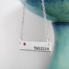 Hand Stamped Name Necklace Birthstone Necklace