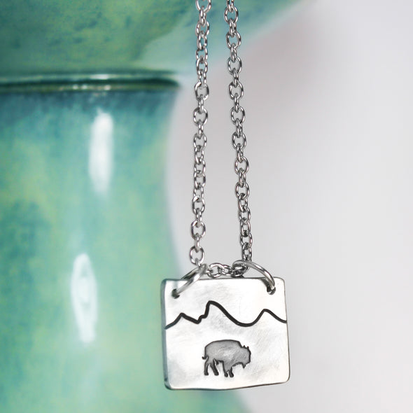 Bison Mountain Necklace on white and teal Background