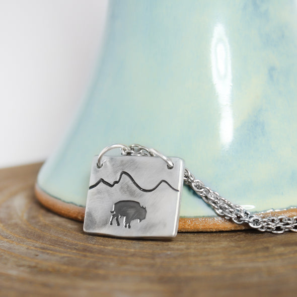 Bison Mountain Necklace on wood and teal  Background