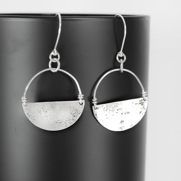 Silver Abstract Earrings on Black & White Background