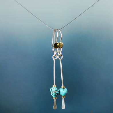 Silver & Brass Turquoise Paddle Earrings