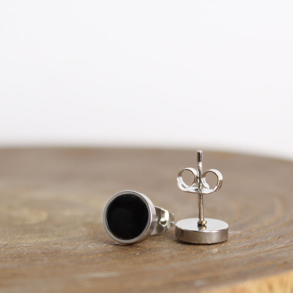Stainless Black Tourmaline Earrings on Wood Block