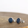 Stainless Blue Azurite Earrings on Wood Block