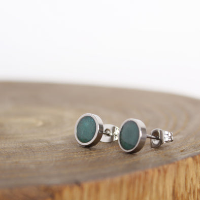 Stainless Chrysocolla Earrings on wood block