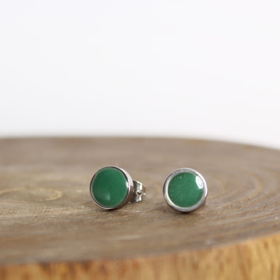 Green Malachite Earrings on Wood Block
