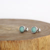 Stainless Turquoise Earrings on Wood Block