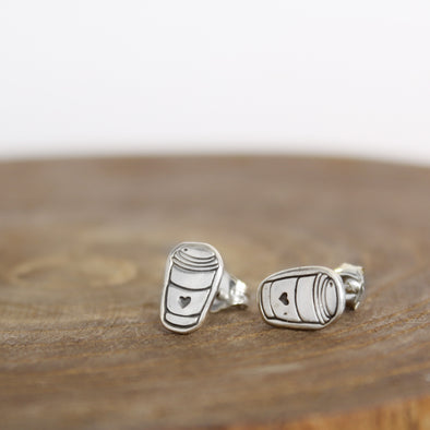Sterling Silver Coffee Earrings