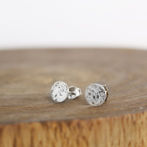Sterling Silver Galaxy Earrings on Wood Block
