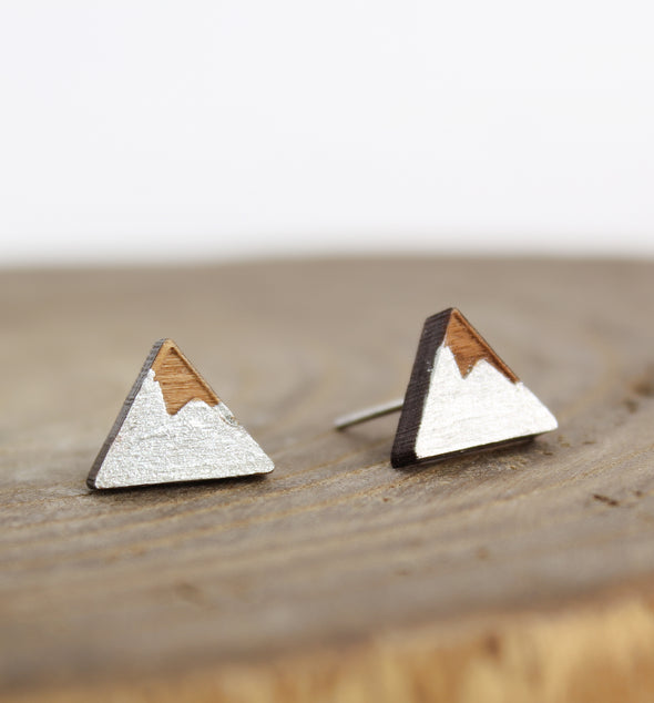 Silver Wood Mountain Earrings on white background
