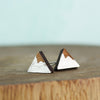 Silver Wood Mountain Earrings on teal background