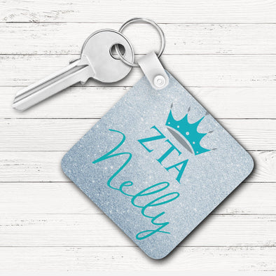 Zeta Tau Alpha Square Key Chain