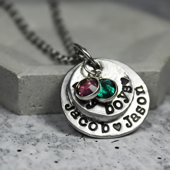 Stacked Mother Necklace - Birthstone Necklace - Mother Jewelry