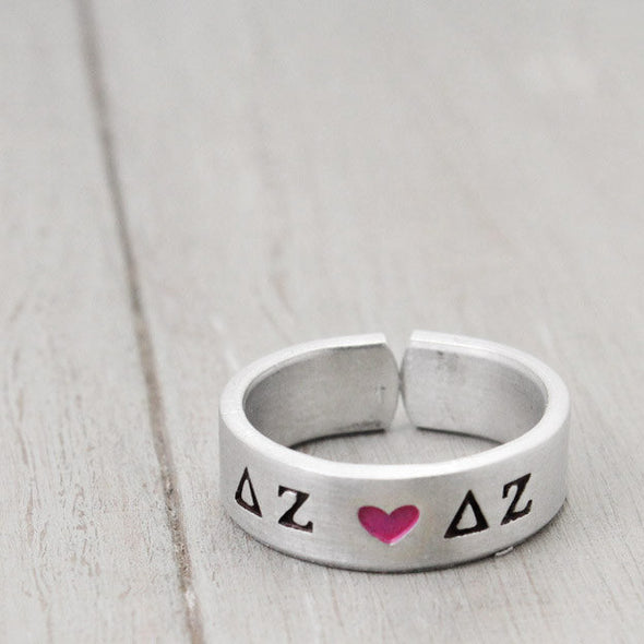 Delta Zeta Heart Ring - Pure Impressions Design - 3