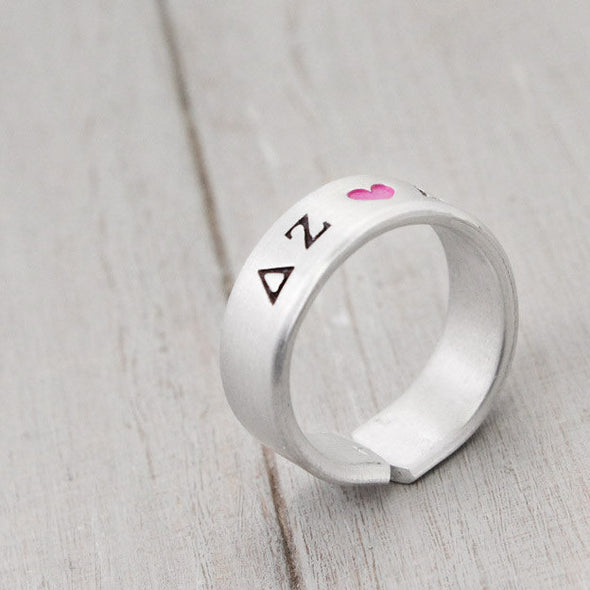 Delta Zeta Heart Ring - Pure Impressions Design - 2