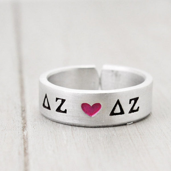 Delta Zeta Heart Ring - Pure Impressions Design - 1