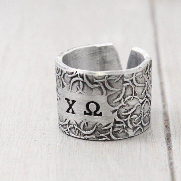 Chi Omega Floral Texture Ring - Pure Impressions Design - 1
