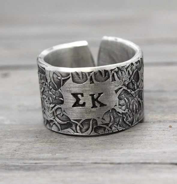 Sigma Kappa Floral Texture Ring - Pure Impressions Design - 2