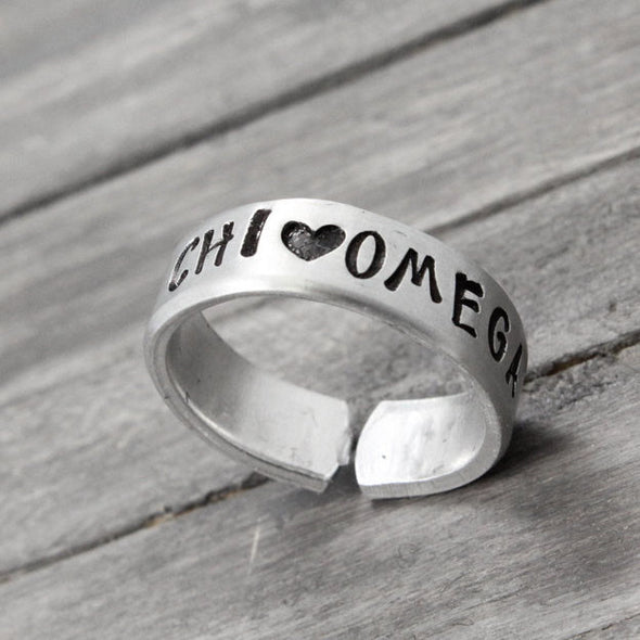 Chi Omega Love Ring - Pure Impressions Design - 1