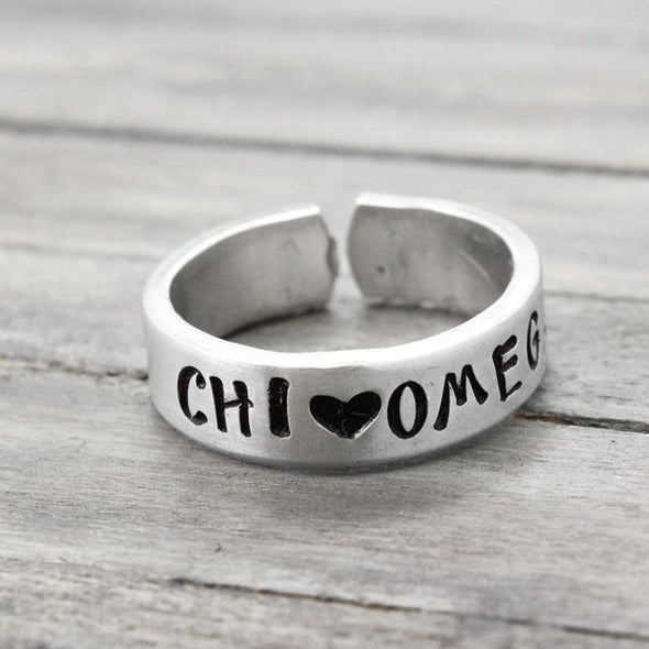 Chi Omega Love Ring - Pure Impressions Design - 2