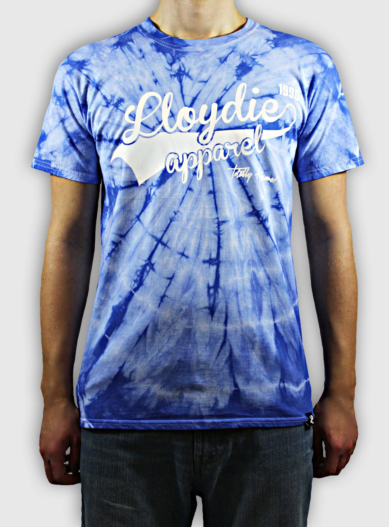 blue tiedye tshirt on body