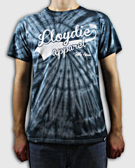 black tiedye t-shirt on body