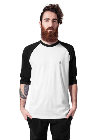 black and white raglan sleeve T-shirt front view