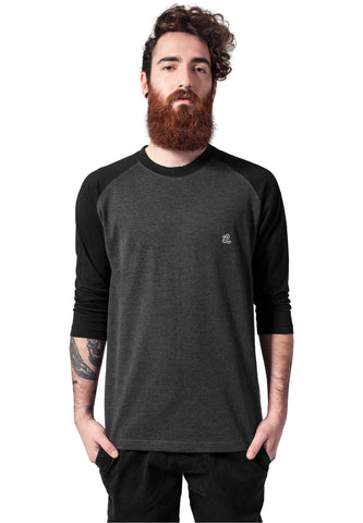 charcoal grey and black raglan t-shirt front view