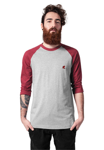 red and grey raglan t-shirt front view
