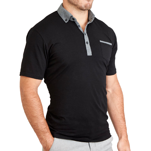 """The Bradley"" Black with Grey Accents Polo"