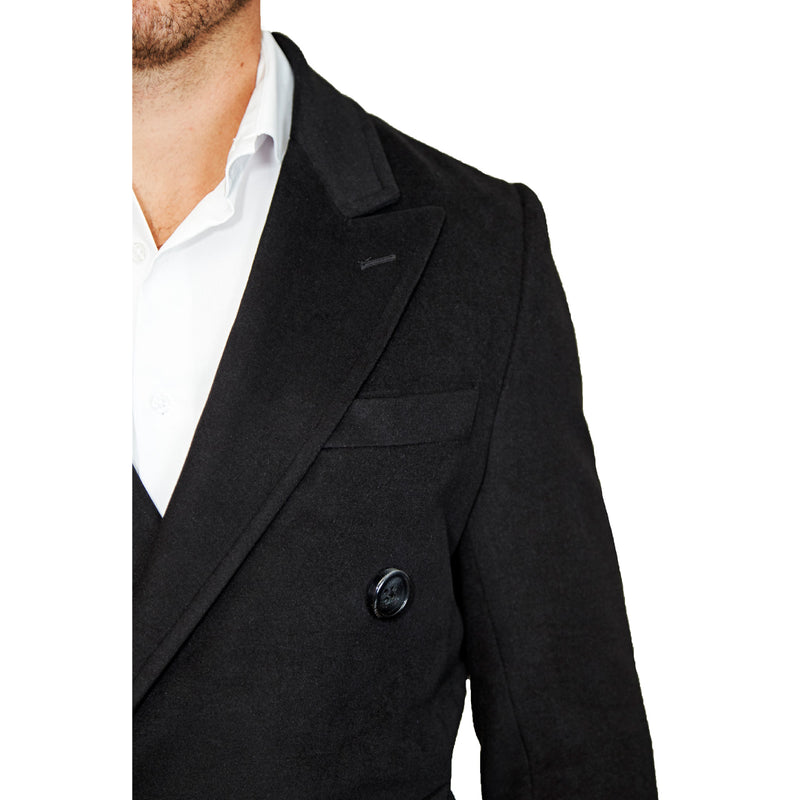 Solid Black Double-Breasted Peacoat