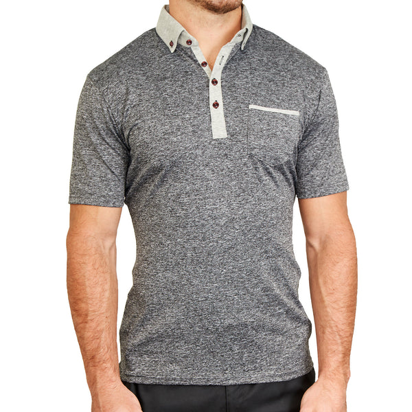 """The Buxton"" Heathered Grey Tech Polo"