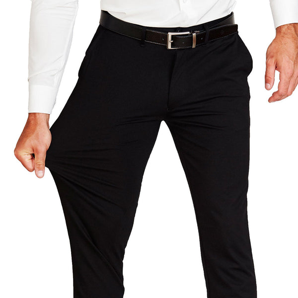 Athletic Fit Stretch Suit Pants - Solid Black