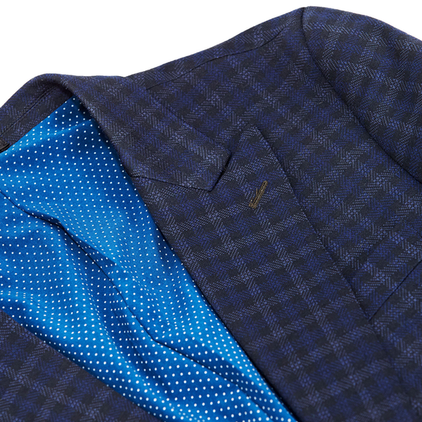 Athletic Fit Stretch Blazer - Blue Plaid