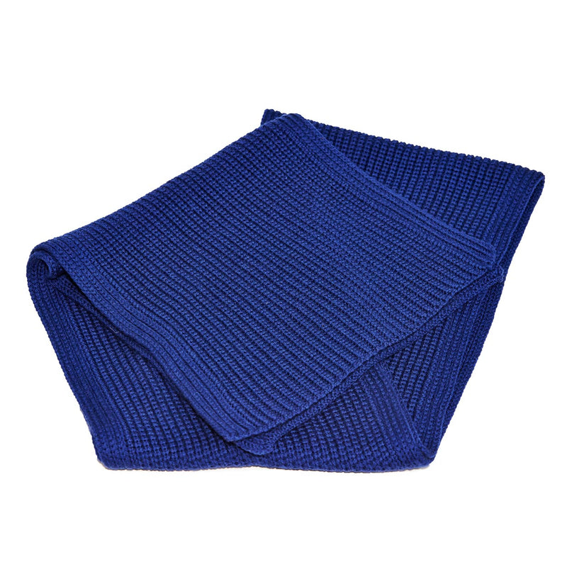 Italian Wool Knit Scarf - Navy