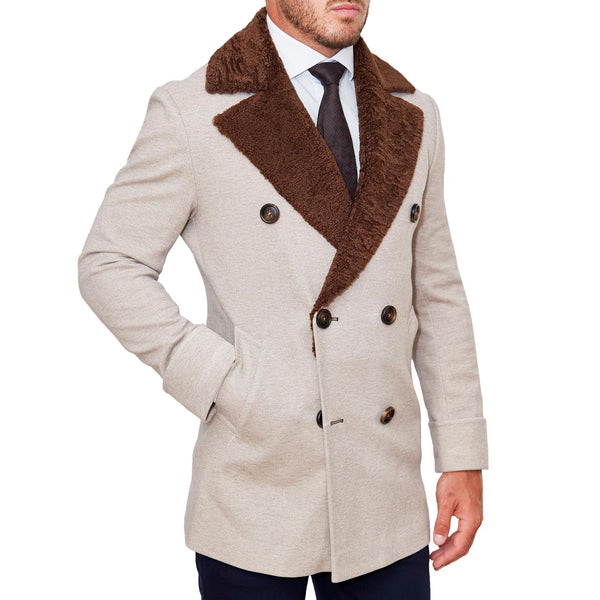 Limited Edition: Tan Double-Breasted Peacoat with Brown Fur