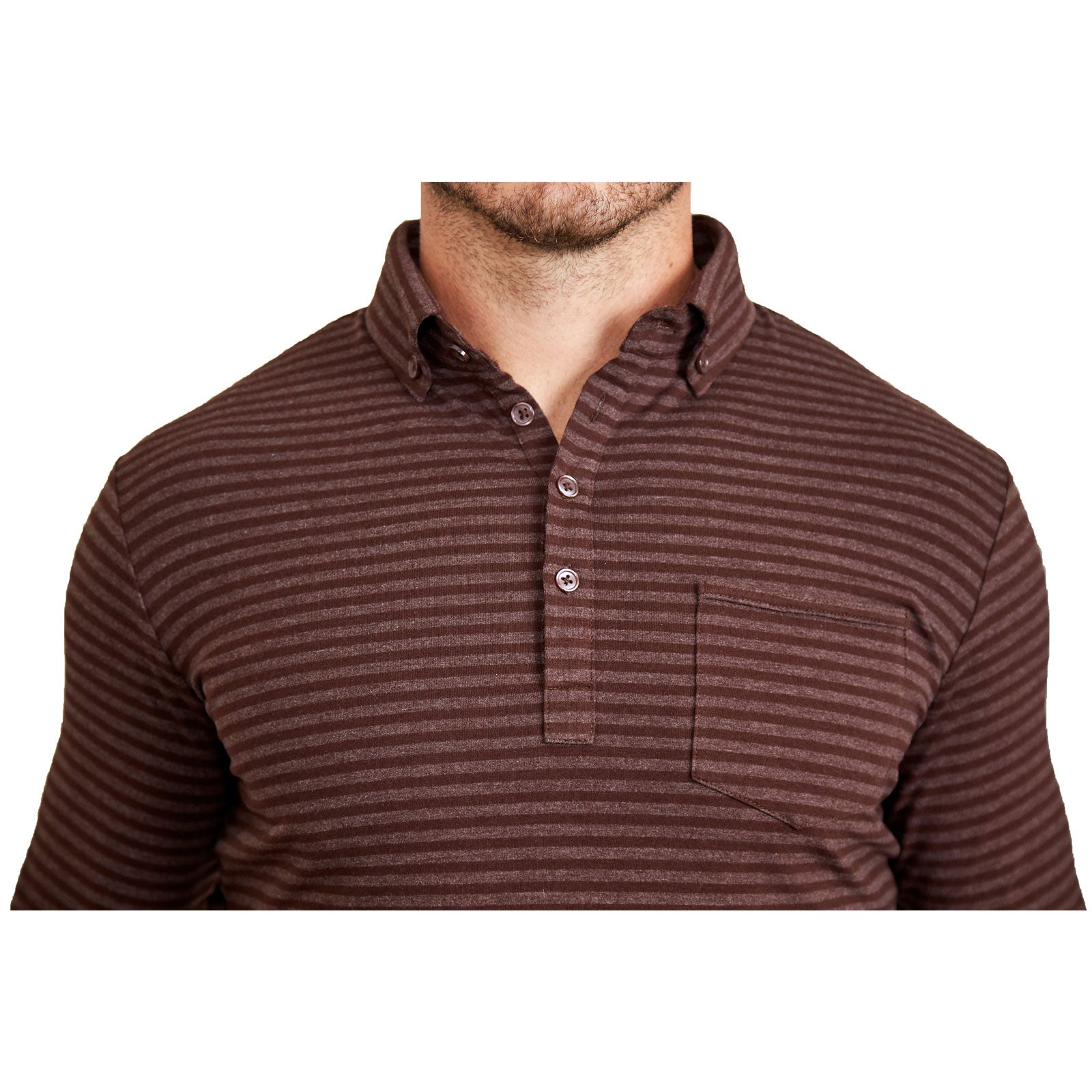 The Cooper Brown And Grey Stripes Long Sleeve Polo State And