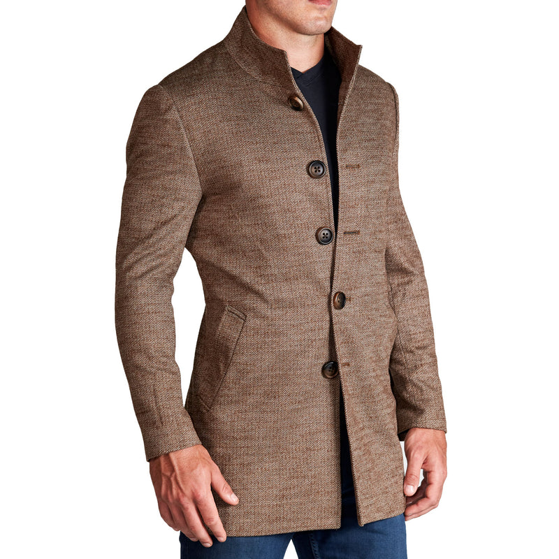 Brown Herringbone Mid-Weight Overcoat