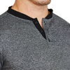 """The Cole"" Grey with Black Collar Short Sleeve Tech Henley"