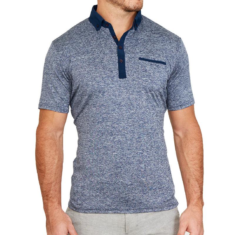 """The Dozier"" Heathered Blue Tech Polo"