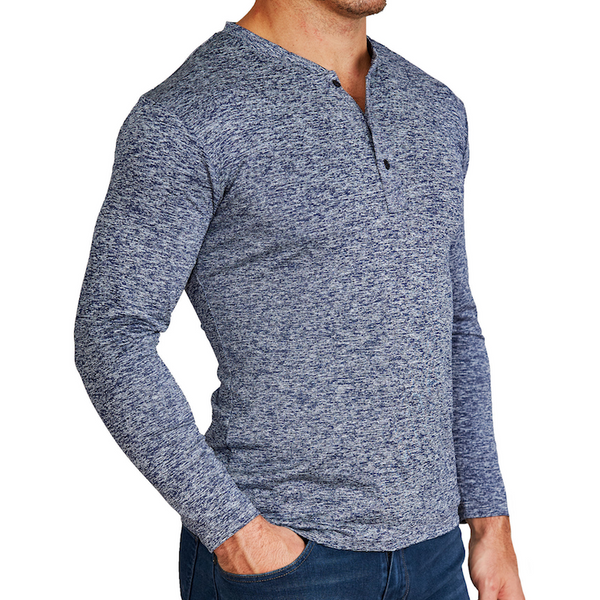 """The Dean"" Blue Long Sleeve Tech Henley"