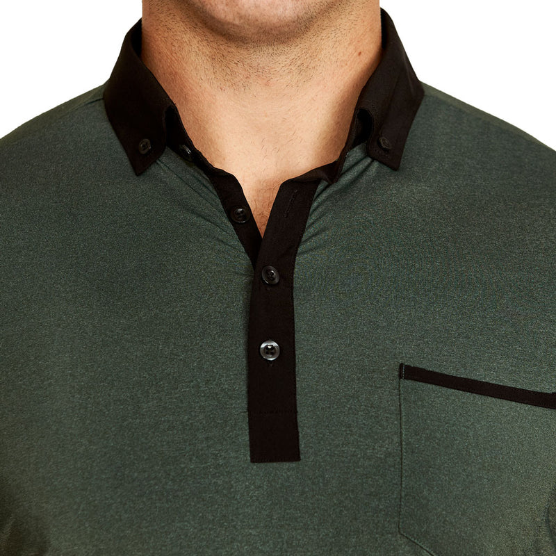 """The Pershing"" Heathered Army Green Tech Polo"